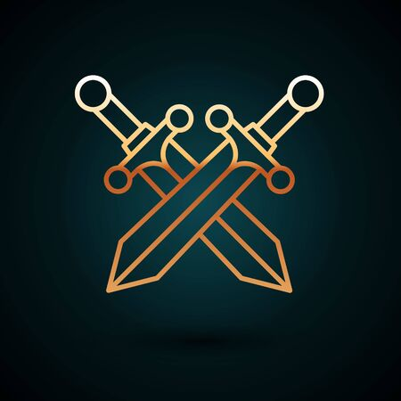 Gold line Crossed medieval sword icon isolated on dark blue background. Vector Illustration