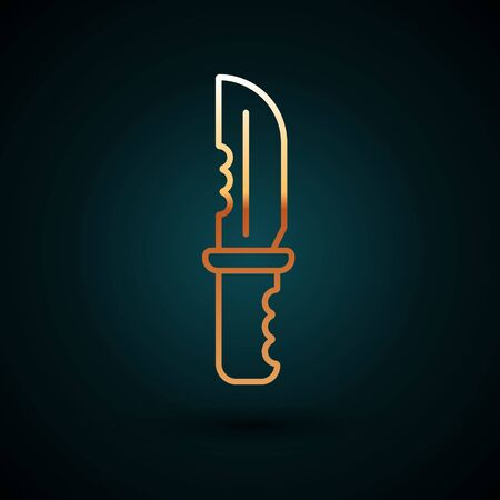 Gold line Military knife icon isolated on dark blue background. Vector Illustration