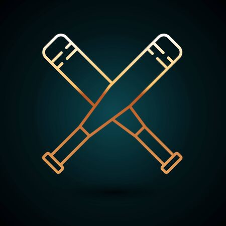 Gold line Crossed baseball bat icon isolated on dark blue background. Vector Illustration