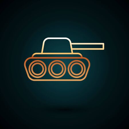 Gold line Military tank icon isolated on dark blue background. Vector Illustration
