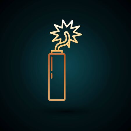 Gold line Detonate dynamite bomb stick clock icon isolated on dark blue background. Time bomb - explosion danger concept. Vector Illustration