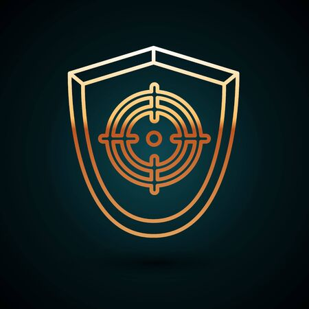 Gold line Target sport icon isolated on dark blue background. Clean target with numbers for shooting range or shooting. Vector Illustration