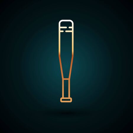 Gold line Baseball bat icon isolated on dark blue background. Vector Illustration