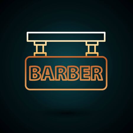 Gold line Barbershop icon isolated on dark blue background. Hairdresser logo or signboard. Vector Illustration