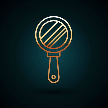 Gold line Hand mirror icon isolated on dark blue background. Vector Illustration