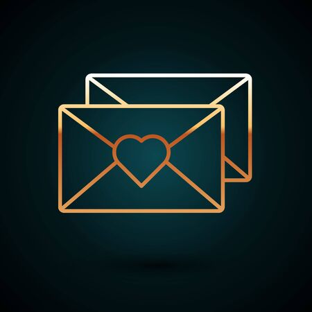 Gold line Envelope with Valentine heart icon isolated on dark blue background. Message love. Letter love and romance. Vector Illustration