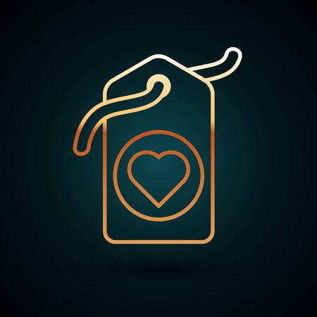 Gold line Heart tag icon isolated on dark blue background. Love symbol. Valentine day symbol. Vector Illustration