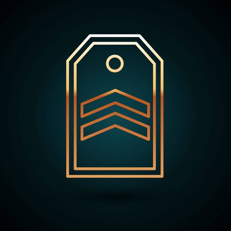 Gold line Chevron icon isolated on dark blue background. Military badge sign. Vector Illustration