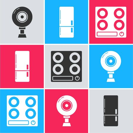 Set Web camera , Refrigerator  and Gas stove  icon. Vector