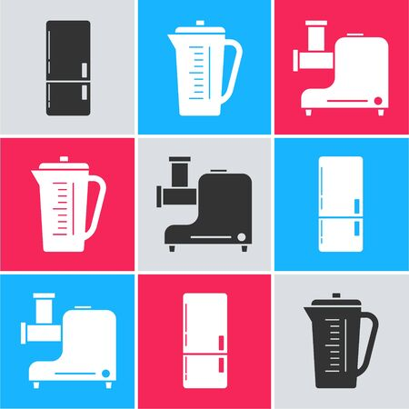 Set Refrigerator , Measuring cup and Kitchen meat grinder  icon. Vector Stock Illustratie