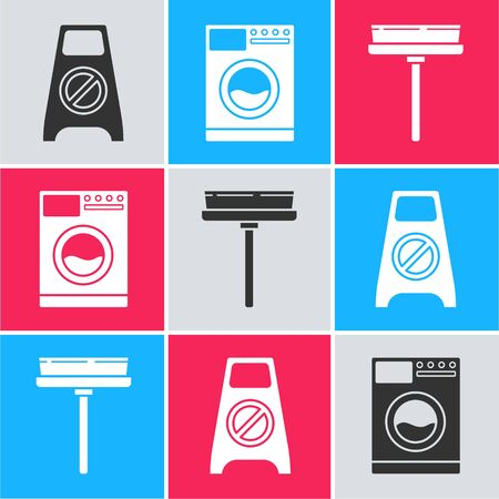 Set Wet floor and cleaning in progress , Washer  and Squeegee, scraper, wiper icon. Vector