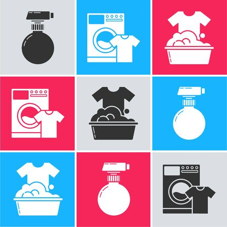 Set Cleaning spray bottle with detergent liquid , Washer and t-shirt  and Plastic basin with soap suds  icon. Vector Ilustração