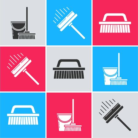 Set Mop and bucket , Squeegee, scraper, wiper and Brush for cleaning  icon. Vector