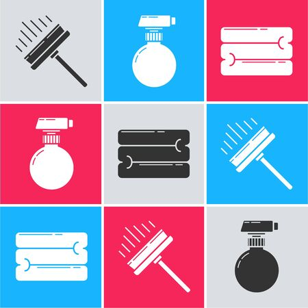 Set Squeegee, scraper, wiper, Cleaning spray bottle with detergent liquid  and Towel stack  icon. Vector