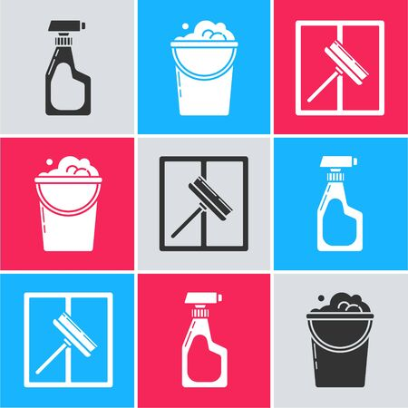 Set Cleaning spray bottle with detergent liquid , Bucket with foam and bubbles  and Squeegee, scraper, wiper icon. Vector