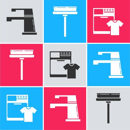 Set Water tap , Squeegee, scraper, wiper and Washer and t-shirt  icon. Vector