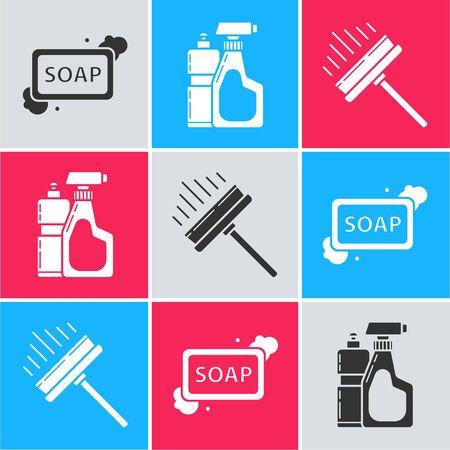 Set Bar of soap with foam , Plastic bottles for liquid dishwashing liquid and Squeegee, scraper, wiper icon. Vector 일러스트