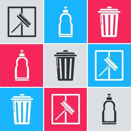 Set Squeegee, scraper, wiper, Plastic bottles for liquid dishwashing liquid and Trash can  icon. Vector