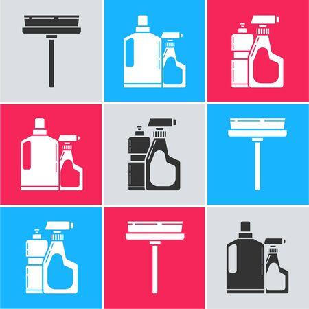 Set Squeegee, scraper, wiper, Plastic bottles for liquid dishwashing liquid and Plastic bottles for liquid dishwashing liquid icon. Vector