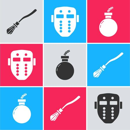 Set Witches broom , Hockey mask and Bomb ready to explode icon. Vector