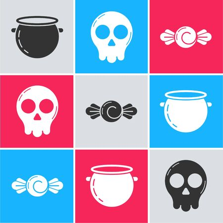 Set Halloween witch cauldron , Skull  and Candy  icon. Vector Ilustracja
