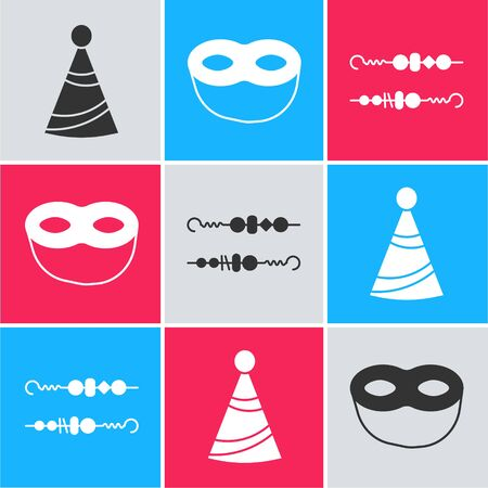 Set Party hat , Festive mask  and Grilled shish kebab icon. Vector