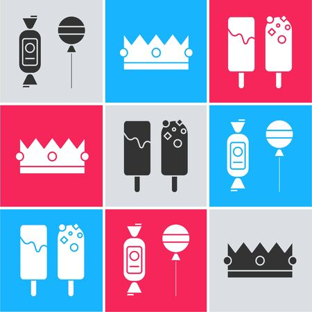Set Lollipop , Crown  and Ice cream  icon. Vector