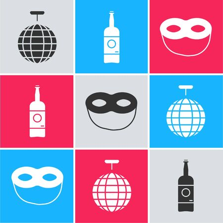 Set Disco ball , Beer bottle  and Festive mask  icon. Vector
