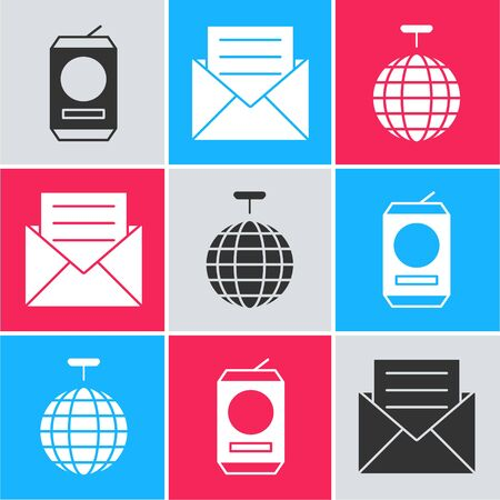 Set Beer can , Envelope with invitation card  and Disco ball  icon. Vector Stock Illustratie