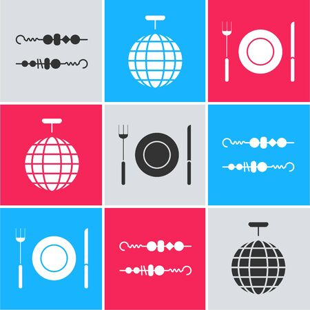 Set Grilled shish kebab, Disco ball  and Plate, fork and knife  icon. Vector
