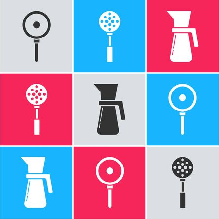 Set Frying pan , Spatula and Measuring cup icon. Vector