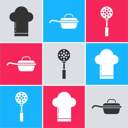Set Chef hat , Frying pan  and Spatula  icon. Vector