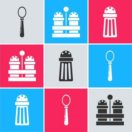 Set Spoon , Salt and pepper  and Salt  icon. Vector