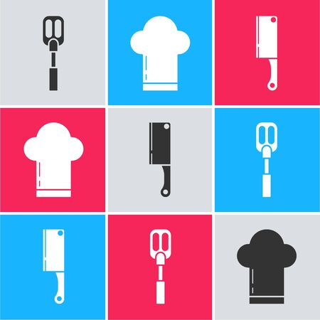 Set Spatula , Chef hat  and Meat chopper  icon. Vector 일러스트