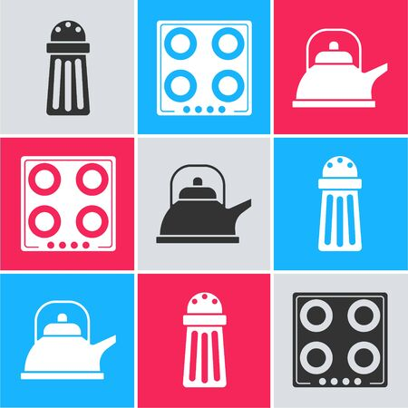 Set Salt , Gas stove  and Kettle with handle  icon. Vector