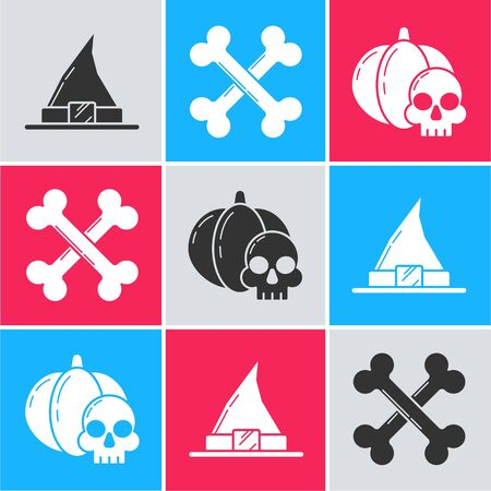 Set Witch hat , Crossed bones  and Pumpkin and skull  icon. Vector