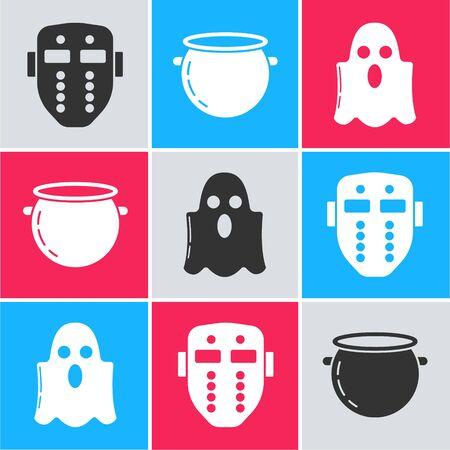 Set Hockey mask , Halloween witch cauldron  and Ghost  icon. Vector Ilustracja