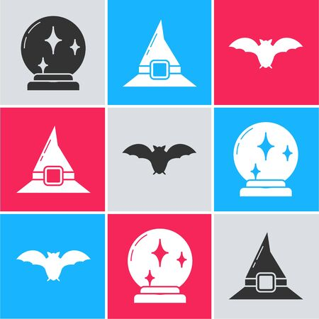 Set Magic ball , Witch hat  and Flying bat  icon. Vector Çizim