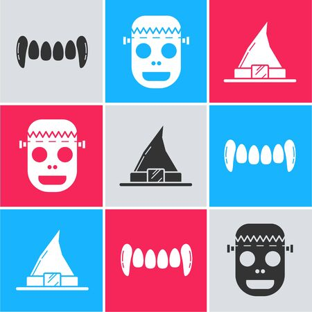 Set Vampire teeth , Zombie mask  and Witch hat  icon. Vector