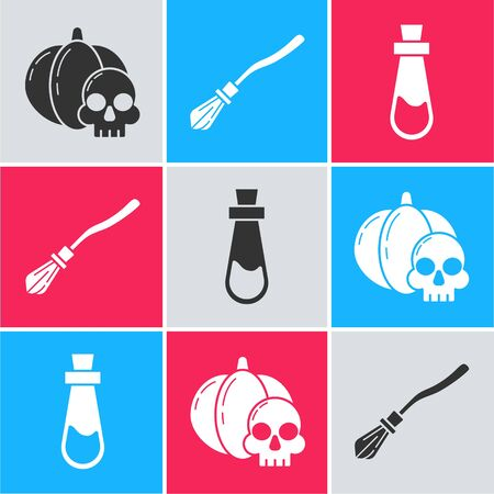 Set Pumpkin and skull , Witches broom  and Bottle with potion  icon. Vector Ilustracja