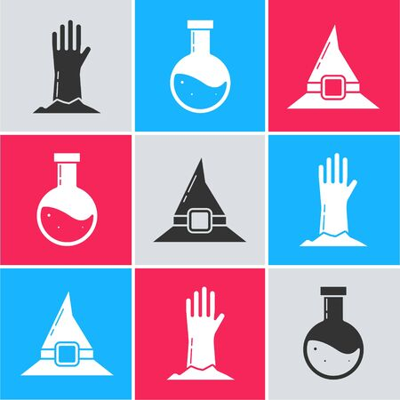 Set Zombie hand , Bottle with potion  and Witch hat  icon. Vector Çizim