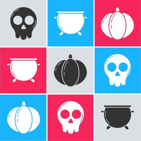 Set Skull , Halloween witch cauldron  and Pumpkin  icon. Vector