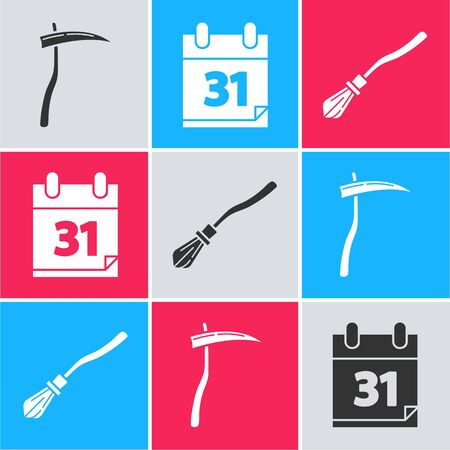 Set Scythe , Calendar with Halloween date 31 october and Witches broom  icon. Vector
