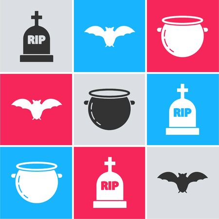 Set Tombstone with RIP, Flying bat  and Halloween witch cauldron  icon. Vector