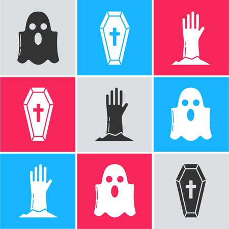 Set Ghost , Coffin with christian cross  and Zombie hand  icon. Vector