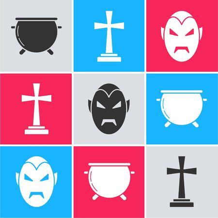 Set Halloween witch cauldron , Tombstone with cross  and Vampire  icon. Vector Ilustracja