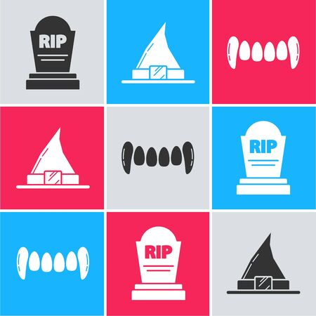Set Tombstone with RIP, Witch hat and Vampire teeth icon. Vector