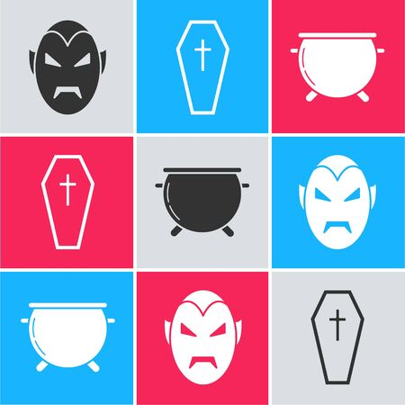 Set Vampire , Coffin with christian cross  and Halloween witch cauldron  icon. Vector Ilustracja