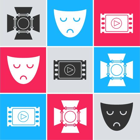 Set Movie spotlight , Drama theatrical mask  and Play Video  icon. Vector