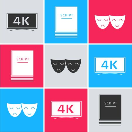 Set Screen tv with 4k Ultra HD video technology , Scenario  and Comedy and tragedy theatrical masks  icon. Vector